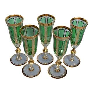 Bohemian Champagne Flutes - Set of 5