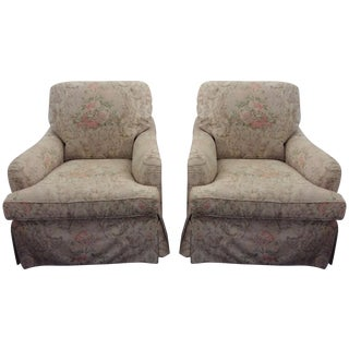 Baker Floral Armchairs - A Pair