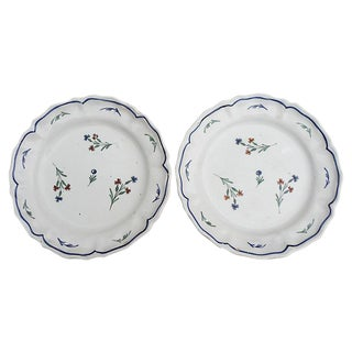 19th-C. French Faience Wall Plates - A Pair