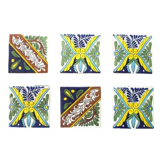 Vintage Talavera Tile Coasters - Set of 6