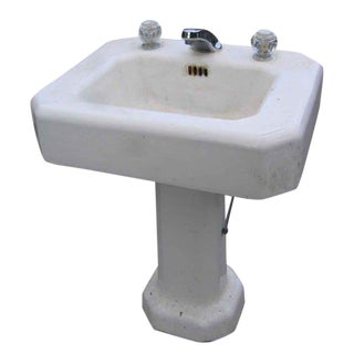 Salvaged White Pedestal Sink With Faucet
