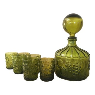 Vintage Green Glass Decanter & Glasses - Set of 7