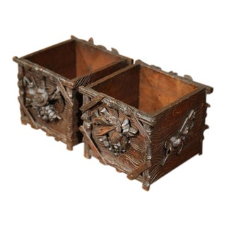 19th Century French Carved Walnut Black Forest Square Jardinieres - A Pair