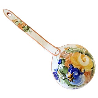 Ceramic Italian Kitchen Spoon with Floral Design
