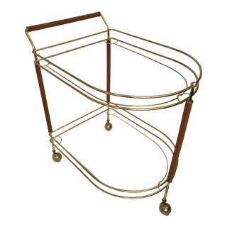 Mid-Century Modern Teak & Brass Bar Cart Frame