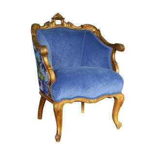Antique French Gilded Rococo Accent Chair