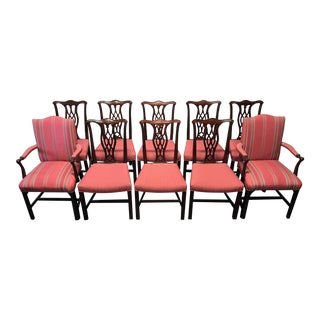 HICKORY CHAIR Mahogany Chippendale Straight Leg Dining Chairs - Set of 10