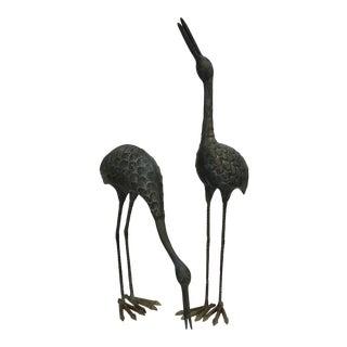 Verdigris Brass Cranes -A Pair