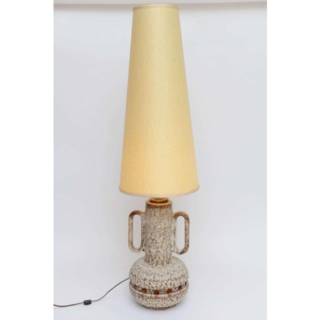 Image of Monumental Mid Century German Lava Glaze Pottery Table Floor Lamp