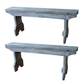 French Rustic Benches - A Pair
