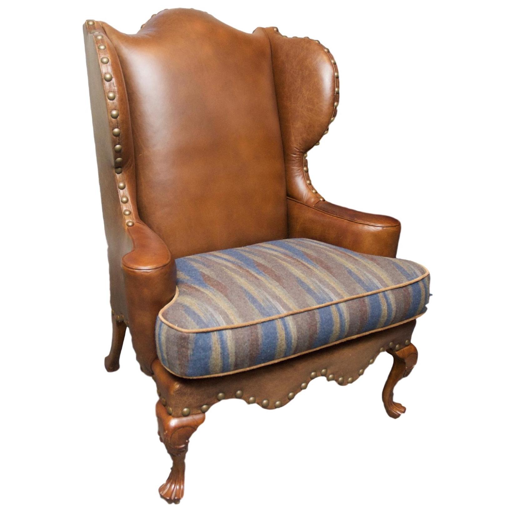 century leather wingback chair w nailhead trim