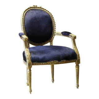 French Navy & Glitwood Side Chair