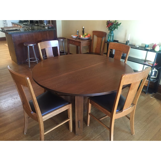 Stickley #634 Reproduction Oak Dining Table - Image 7 of 8