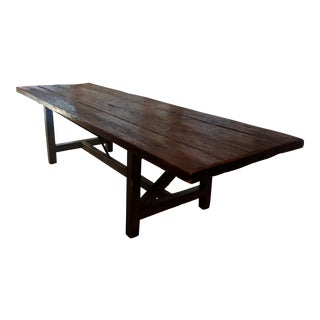 Antique French Farmhouse Extra Long Pine Dinning Table