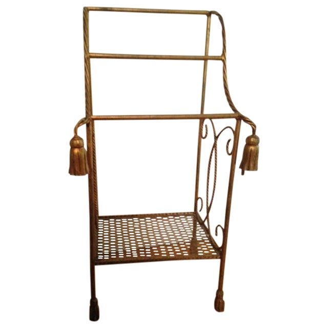 Vintage Italian Gold Leaf Towel Stand - Image 1 of 4