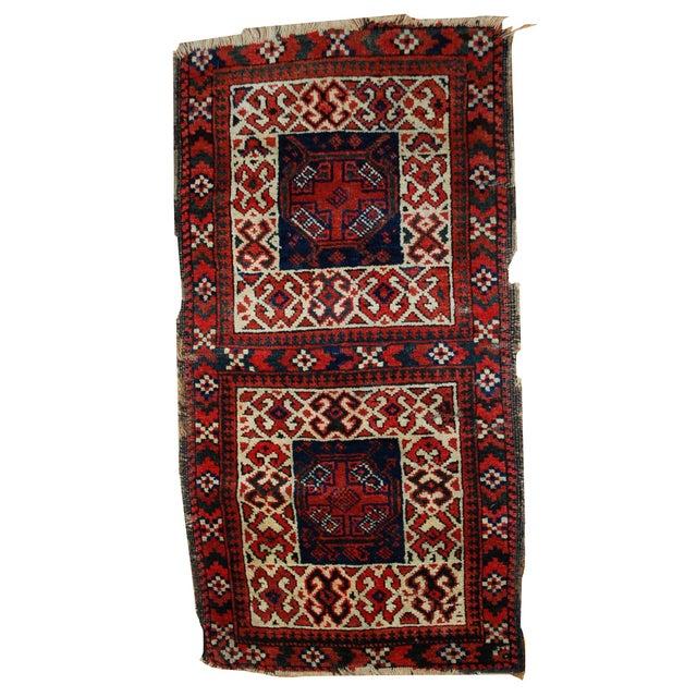Antique Afghan Rugs: 1880s Hand Made Antique Afghan Baluch Saddle Bag Rug- 2' X