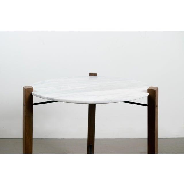 Image of Minimalist Modern Teak and White Marble Side Table