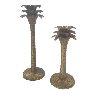 Vintage Brass Palm Tree Candle Holders Set of 2