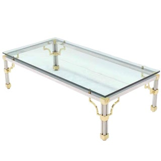 Jansen Style Brass & Chrome Coffee Table