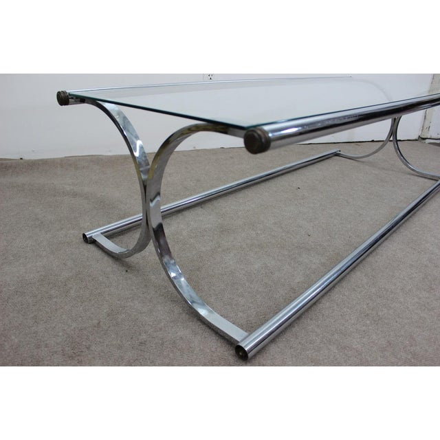 Glass Coffee Table Chrome Base: Mid Century Modern Tubular Chrome And Glass X Base Coffee