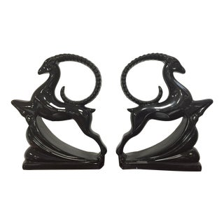 Royal Haeger Black Gazelle Statues - A Pair