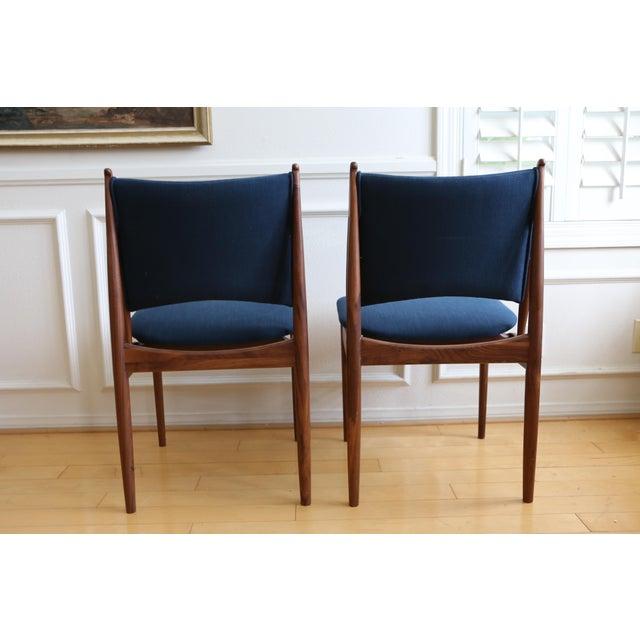 Mid Century Modern Teak Dining Chairs In Navy Blue Set