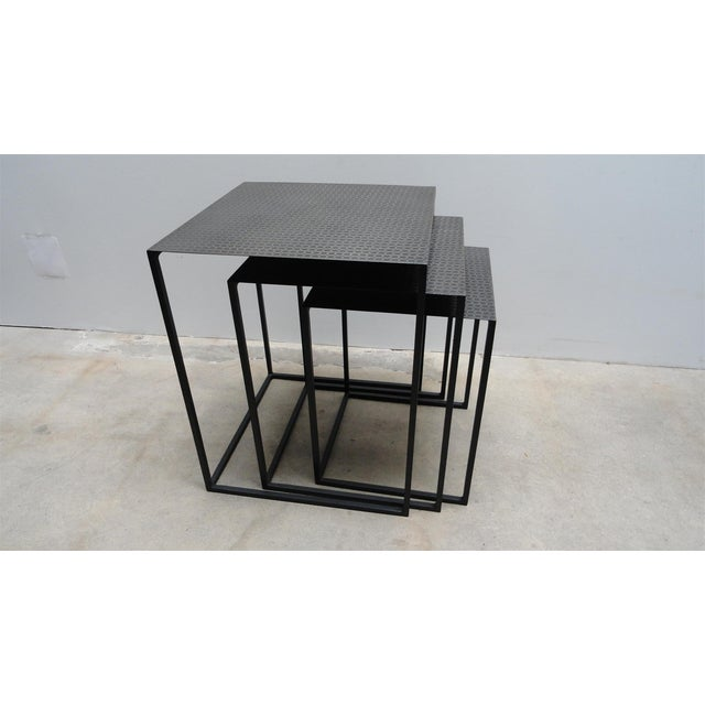 Contemporary metal nesting tables set of chairish