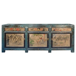 Chinese Blue Sideboard with Mountain Scenery