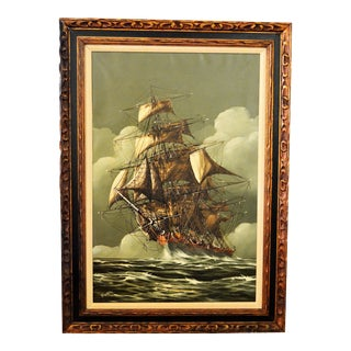 Vintage Mid-Century Ship Oil Painting