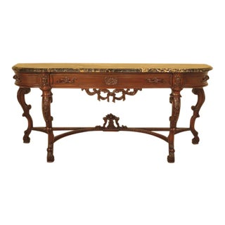 Rococo Marble Top Carved Walnut Sideboard