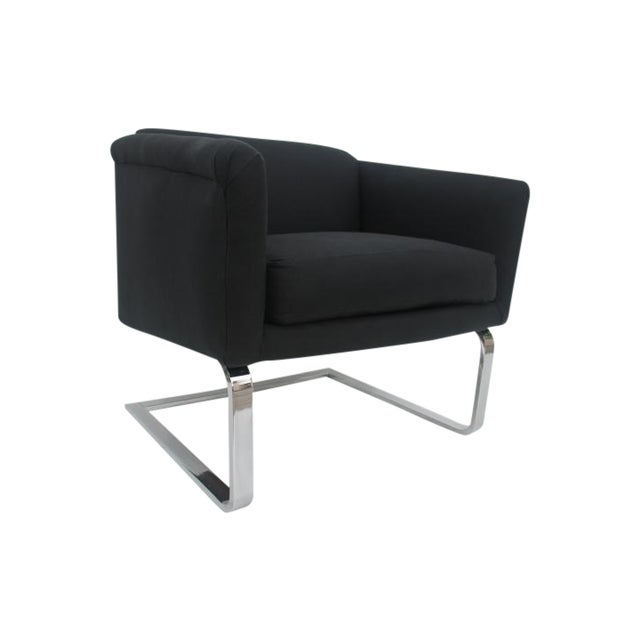 Italian Vintage Flat Bar Chrome Accent Chair - Image 1 of 11