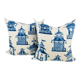 Blue & White Pagoda Cotton Print Pillows- a Pair