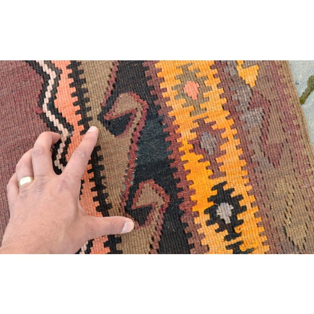 Turkish Hand Woven Kilim Rug - 5′1″ X 12′6″ - Image 10 of 10