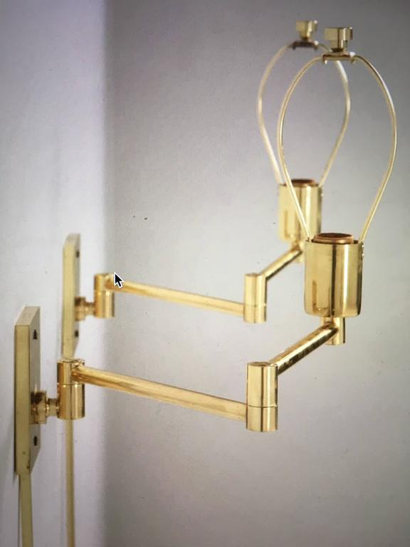 vintage hansen brass swing arm wall lamps a pair image 2 of 9