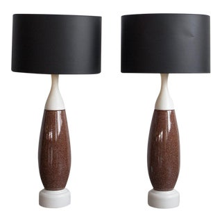 Speckled Ceramic Lamps - A Pair