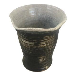 Vintage Ceramic Black & Gray Vase