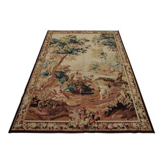 French Gobelin Area Rug Tapestry - 4′10″ × 7′2″