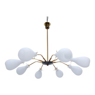 Italian 8 Arm Glass Chandelier