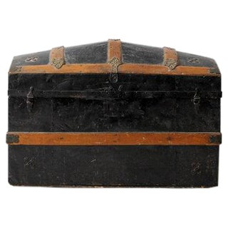 Antique Dome Top Metal Trunk