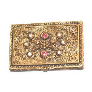 Jeweled 1940s Hinged Brass Card Case