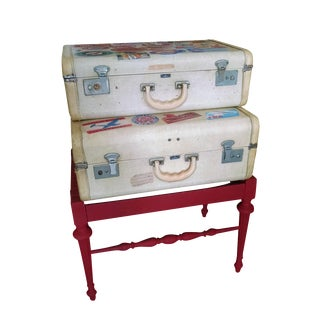 Vintage Suitcase Storage Accent Table