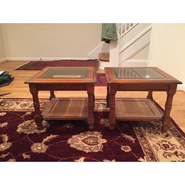 Image of Wood & Glass Side Tables - A Pair