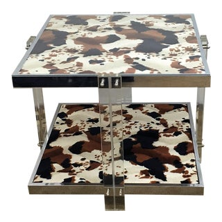 Mid-Century Modern Lucite & Chrome End Table