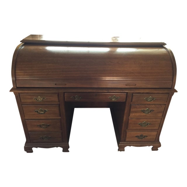 Image of Wooden Roll Top Desk