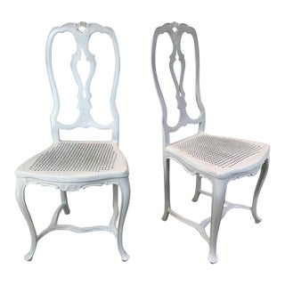 French Style White Iron Chairs - A Pair