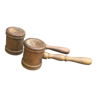 Wood Vintage Gavel Salt & Pepper Shaker Set - A Pair