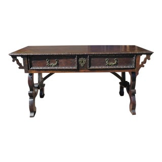 Italian Baroque Console Table in Walnut
