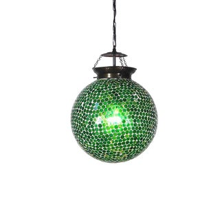Mosaic Green Globe Lantern