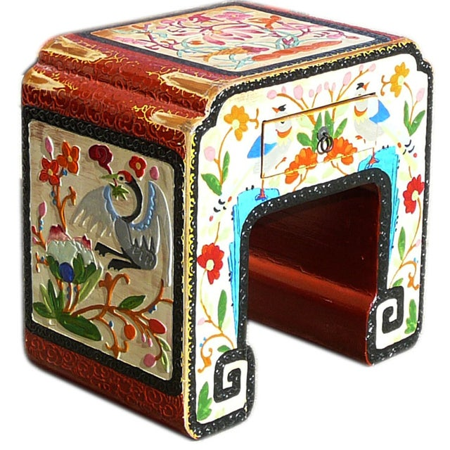 Chinese Off White Flower, Bird & Fish Stool - Image 1 of 6