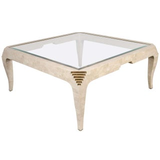 Tessellated Fossil Stone and Brass Coffee Table